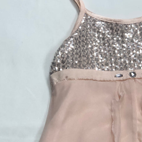 Biscotti Let it Shine Pink Nylon Strap Dress w/ Silver Sequins