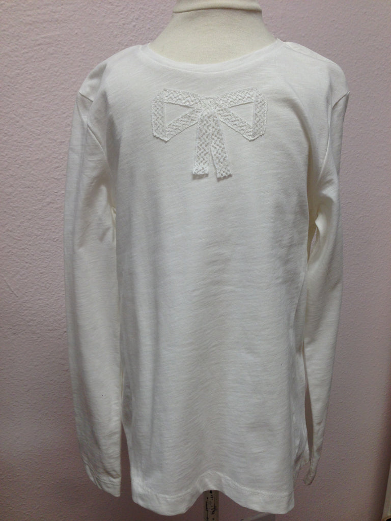 Mayoral Girls White L/S Top w/ Bow Applique