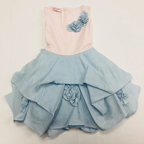 Biscotti Pink & Powder Blue Lined Sleeveless Dress
