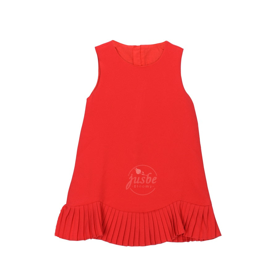 Jusbe Kids Pleated Lace Dress  Red