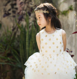 Jusbe Kid Gold Dots Dress white