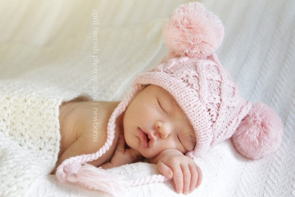 The Daisy Baby: Jordan Baby Pink Cable Crochet Double Pom Hat
