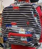 Joules Blue & White Stripe Backpack with Red Trim