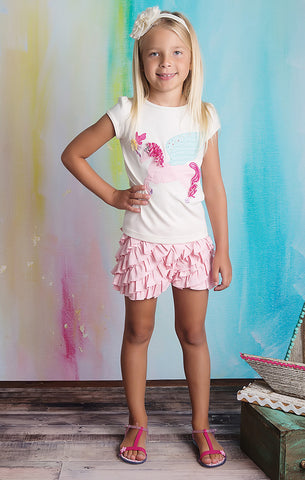 Lemon Loves Lime Girls Rose Shadow Peach Ruffle Skort Shorts