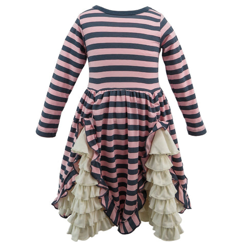 Lemon Loves Lime Pink/Slate Stripe Madeline Dress