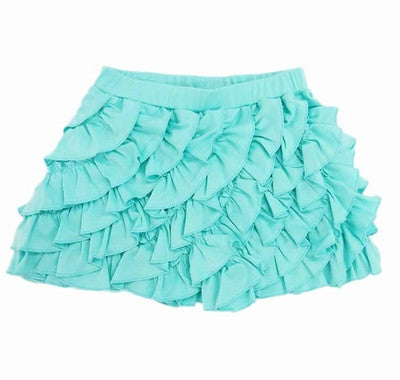 Lemon Loves Lime Girls Teal Soft Prima Cotton Ruffled Skort w/ Elastic Waist