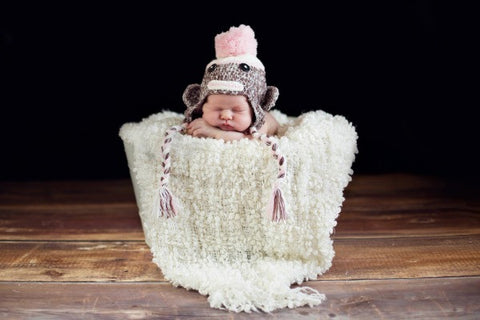 The Daisy Baby: Lulu Baby Pink Sock Monkey in Creme & Brown Double Stitch Hat
