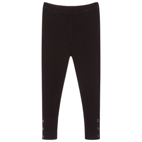 Mayoral Black Knit Stretchy Ribbed Leggings