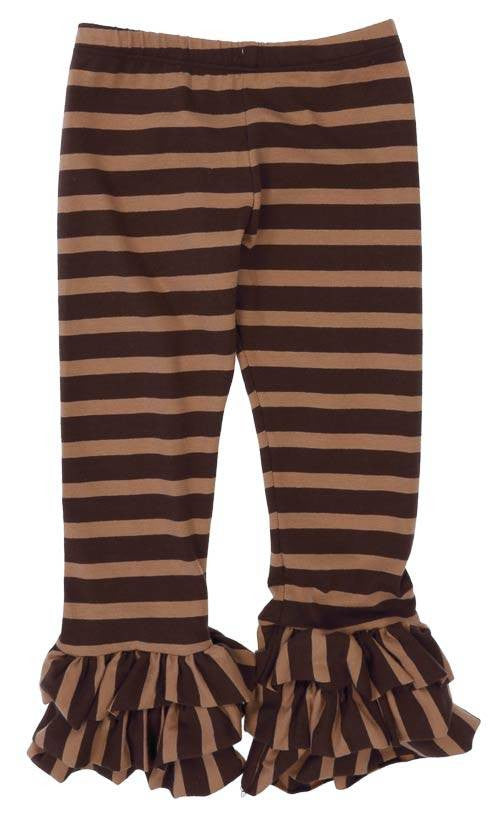 Persnickety Triple Ruffle Brown Stripe Leggings