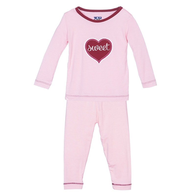Kickee Pants Holiday Long Sleeve Appliqué Pajama Set in Lotus Sweetheart