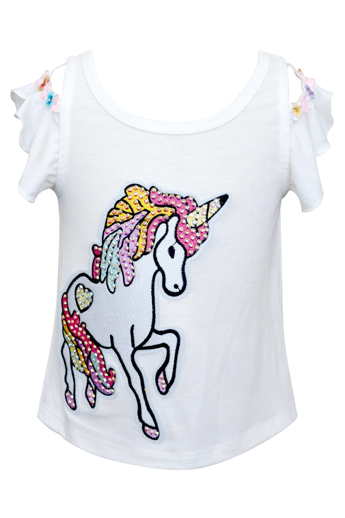 Baby Sara Cloud Shoulder Unicorn cream top