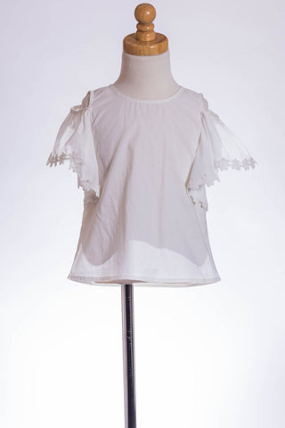 M L Kids Girls White Cotton Drop Short Sleeve Shirt w/ White Flower Sleeve Piping