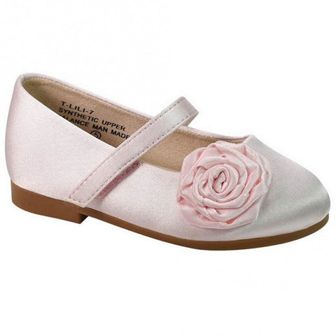 De Blossom Collection Flower Pink Satin Shoes