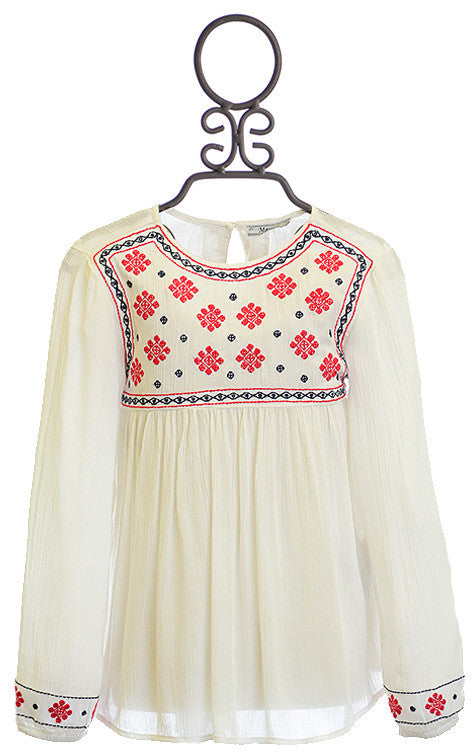 Mayoral Ivory Boho Top w/ Empire Waist & Red/Blue Floral Pattern Top