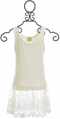 PPLA Lace Tank Top for Tweens in White