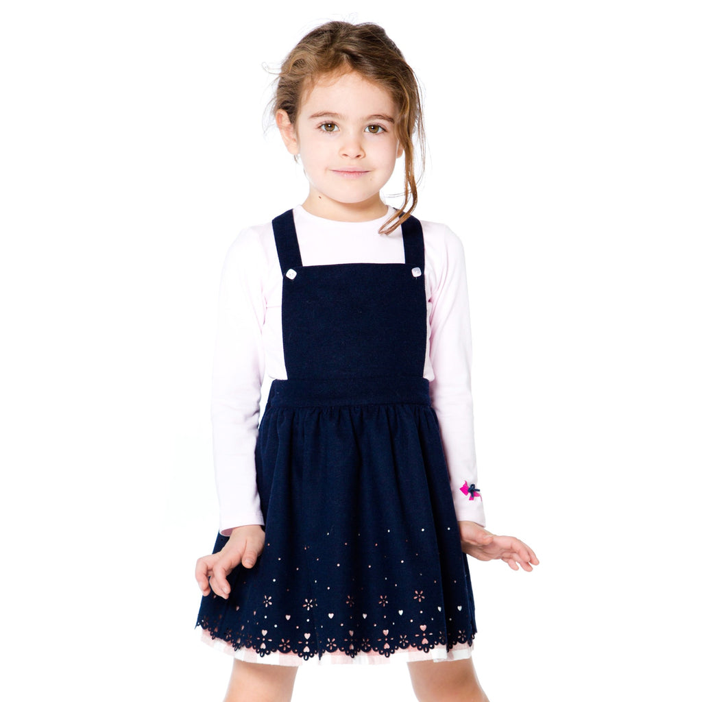 Deux par Deux Girls Pink/Blue Woolen Strapped Skirt & Top Set