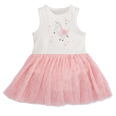 Elegant Baby Pink & White Unicorn Tutu Dress w/ Stars Tulle Bottom