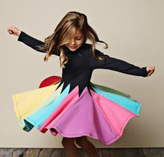 Lemon Loves Lime Multi-Colored Rainbow Long Sleeve Stretch Cotton Dress