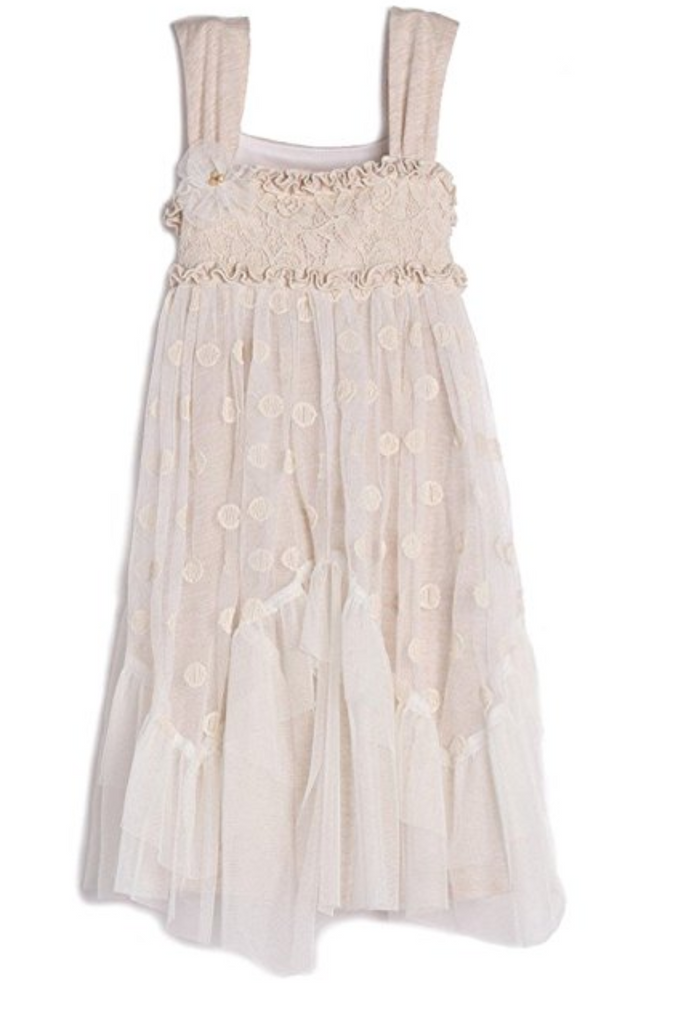 Isobella and Chloe  Taupe/Cream lace w/ dots dress