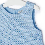 Mayoral Crochet mixed media Dress Light blue