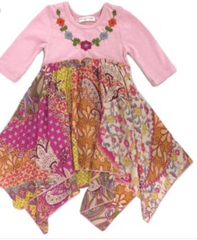 Mimi & Maggie burgandy & pink foral dress