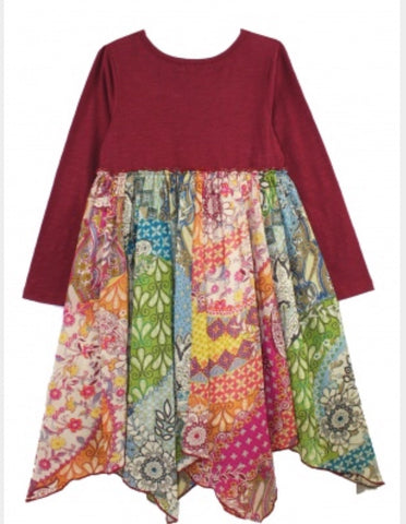 Mimi & Maggie burgundy multi floral dress