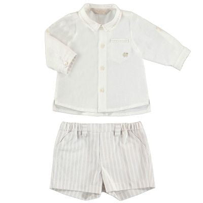 Mayoral Baby Boys Ivory Linen Top Sand Colour Striped Shorts Set