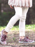 Mae Li Rose Ivory Scalloped Leggings