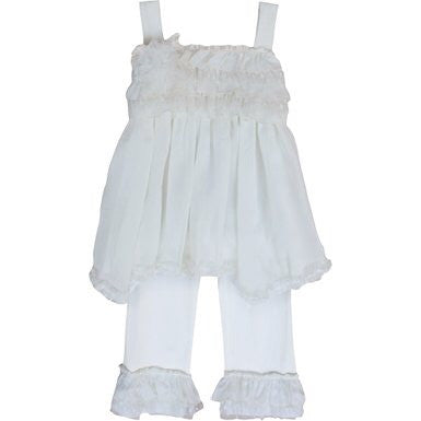 Isobella & Chloe Little Girls Ivory Cream Sugar 2 Pcs Pant Outfit
