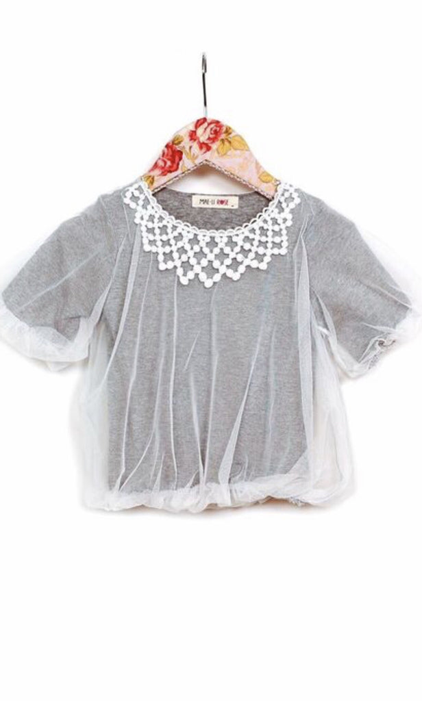 Mae li rose Gray bubble overlay top.