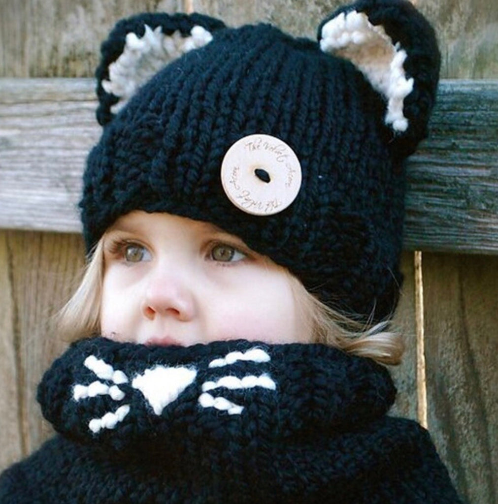 Hand Made Knit kitty cap and neck closed scarf