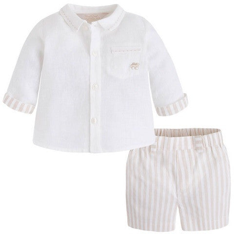 834707c0c Mayoral Baby Boys Ivory Linen Top Sand Colour Striped Shorts Set ...