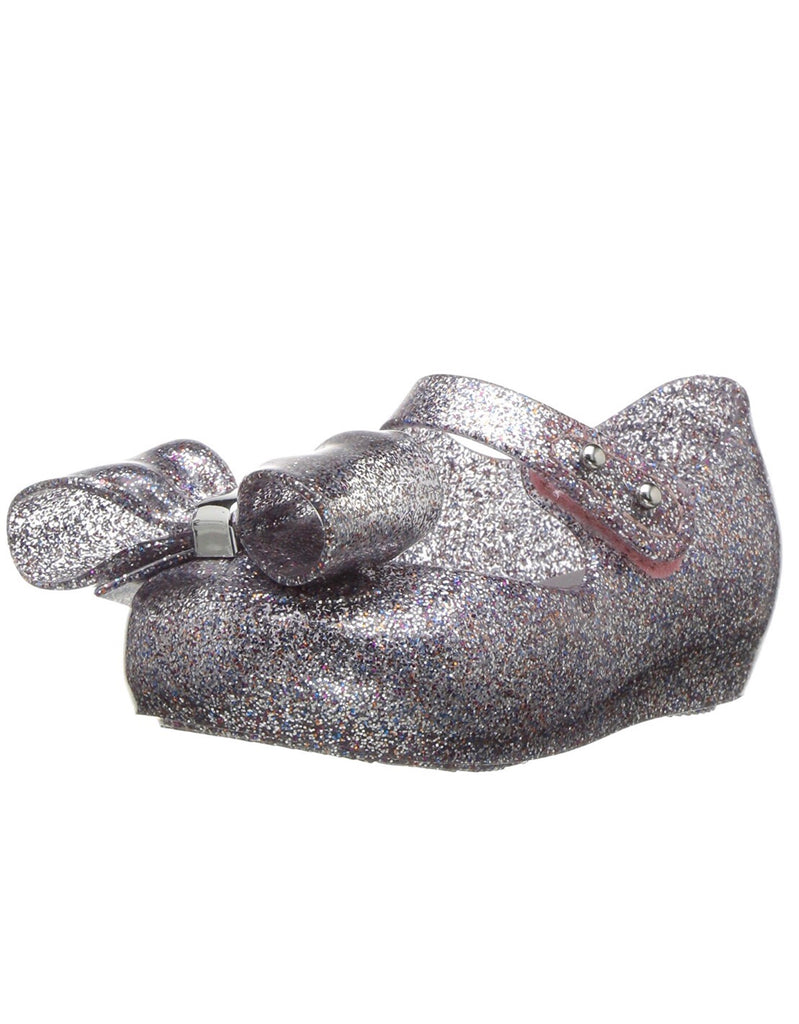MINI MELISSA Girls Silver Glitter Jelly Shoe