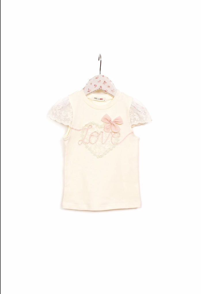 Mae Li Rose Ivory Love Top w/ Peach Accent
