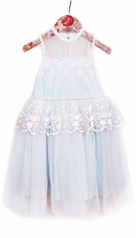 Mae li Baby Blue /white Lace overlay dress