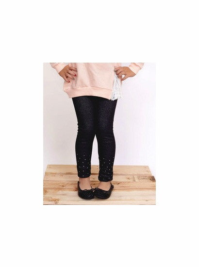 Mae li Rose Navy Fleece Rhinestone leggings