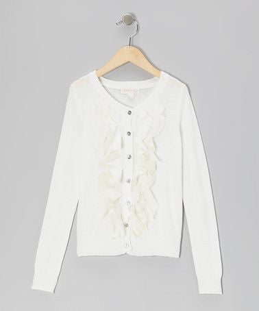Trish Scully Child Buttercup White Ruffled Sweater