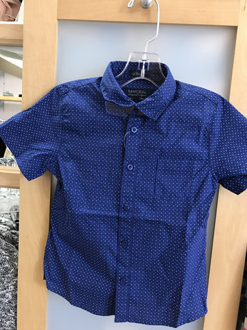 Mayoral Boys Astral Blue Print  S/S Collared Shirt