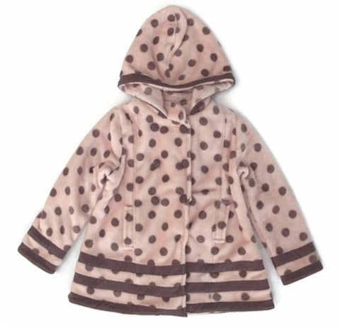 Isobella and Chloe Pink and Brown Dot fleece hooded coat