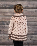 Isobella & Chloe Pink and Brown Dot fleece hooded coat