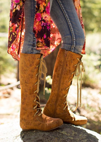 Joyfolie Adelyn Floral Suede Boot
