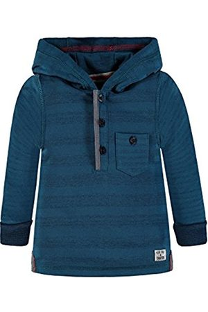 Kanz long sleeve hooded blue and gray stripe shirt