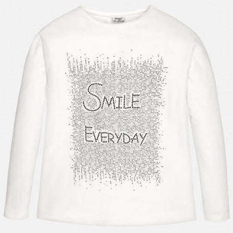 "Mayoral ""Smile Everyday"" White Girls L/S Glitter Top"