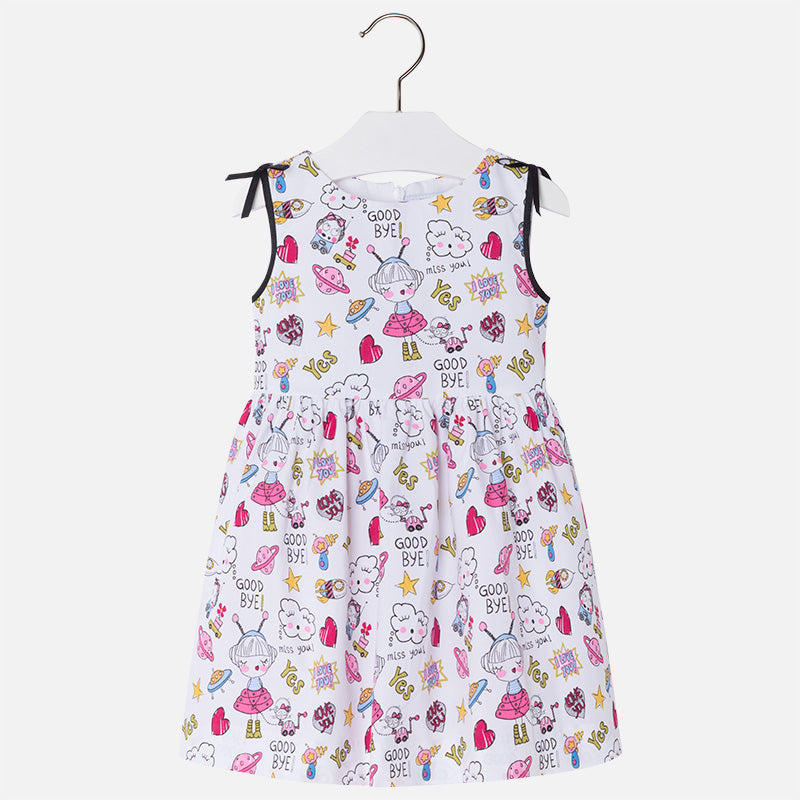 Mayoral Poplin dress with shoulder bows for girl