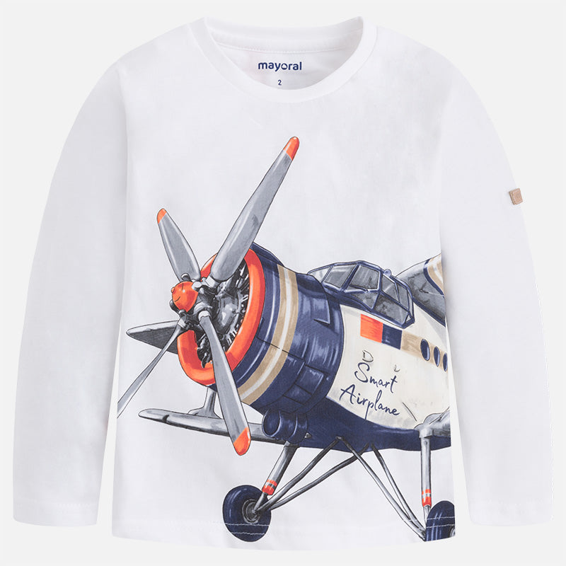 Mayoral Boys White L/S Jersey Top w/ Vintage Airplane