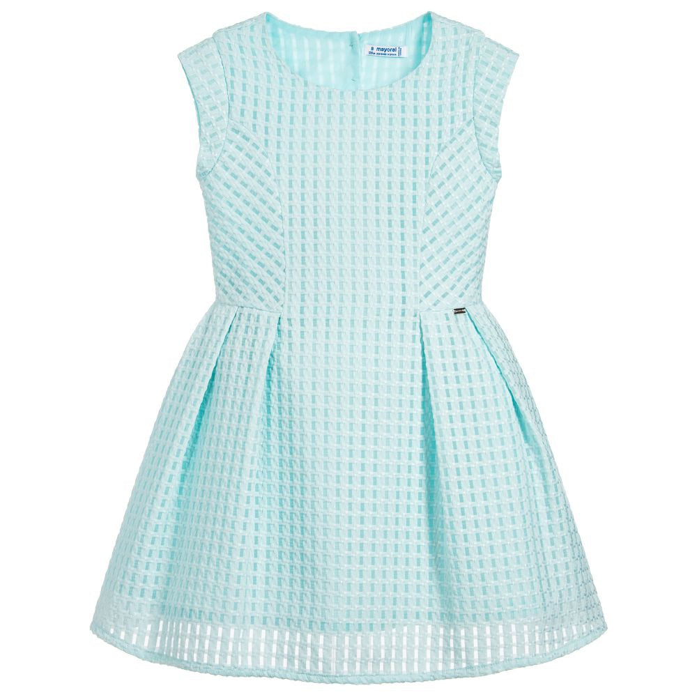 Mayoral Fitted pleated dress in aqua