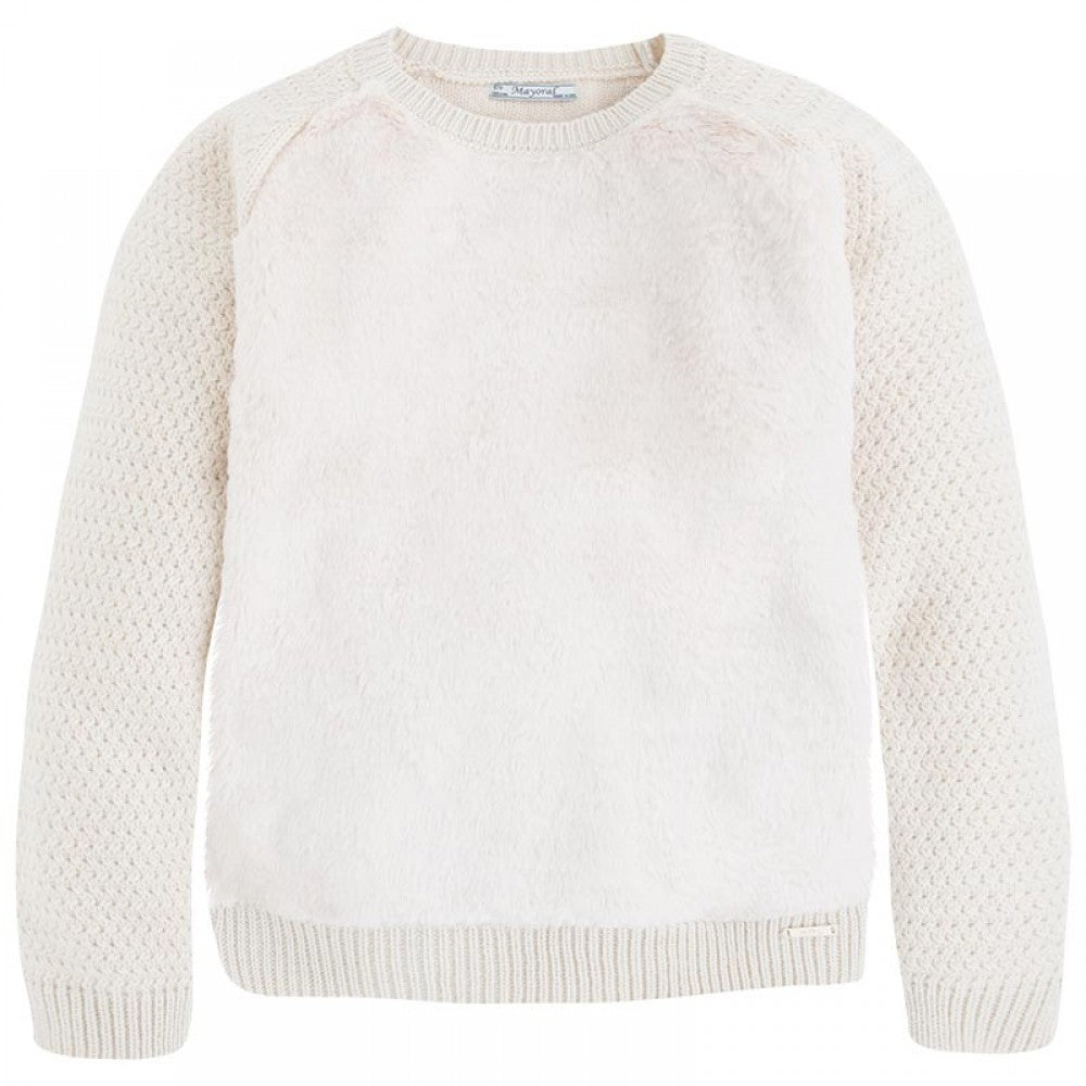 Mayoral Oat Fur Knit Sweater