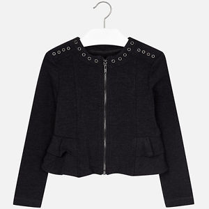 Mayoral Girls Eyelet Trim Jacket, Dark Grey