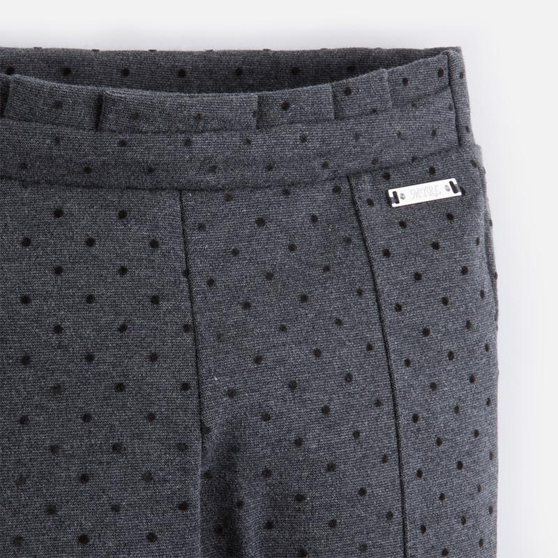 Mayoral Girls  Gray & Black Dots Adjustable Waist Trousers