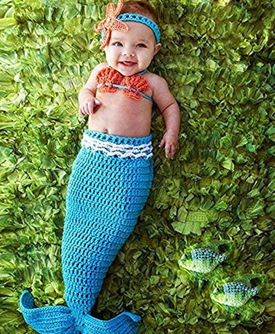 Hand Made 3-piece Mermaid infant outfit
